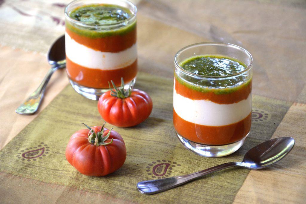 Tomate mozza revisitee en verrine - Au Fil du Thym