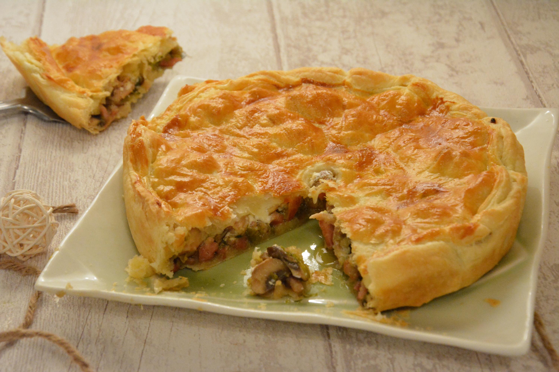 Cake poireaux lardons champignons
