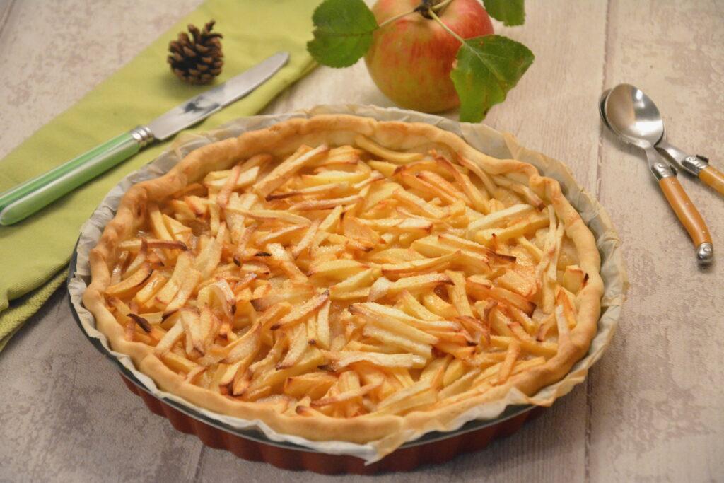 Tarte deux pommes (crues et cuites) pour un mélange crousti-fondant.