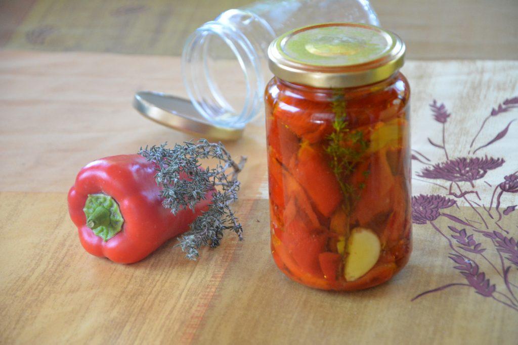 Conserves poivrons grillés à l'huile d'olive