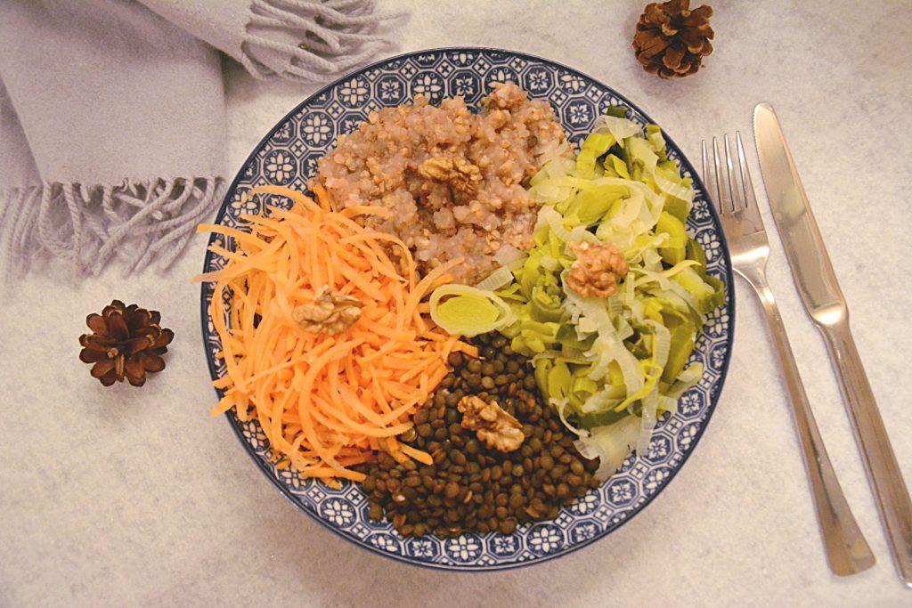 veggie bowl hiver : lentillles, kasha, légumes et noix