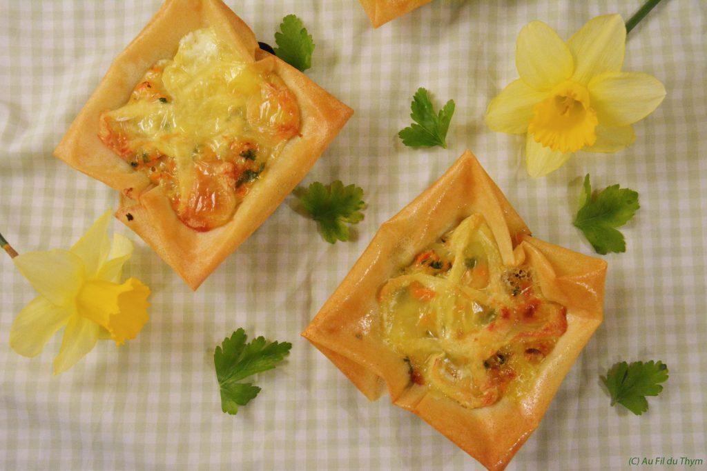 Bricks aux carottes et fromage (St Marcellin) - une entrée ou un plat facile et gourmand !