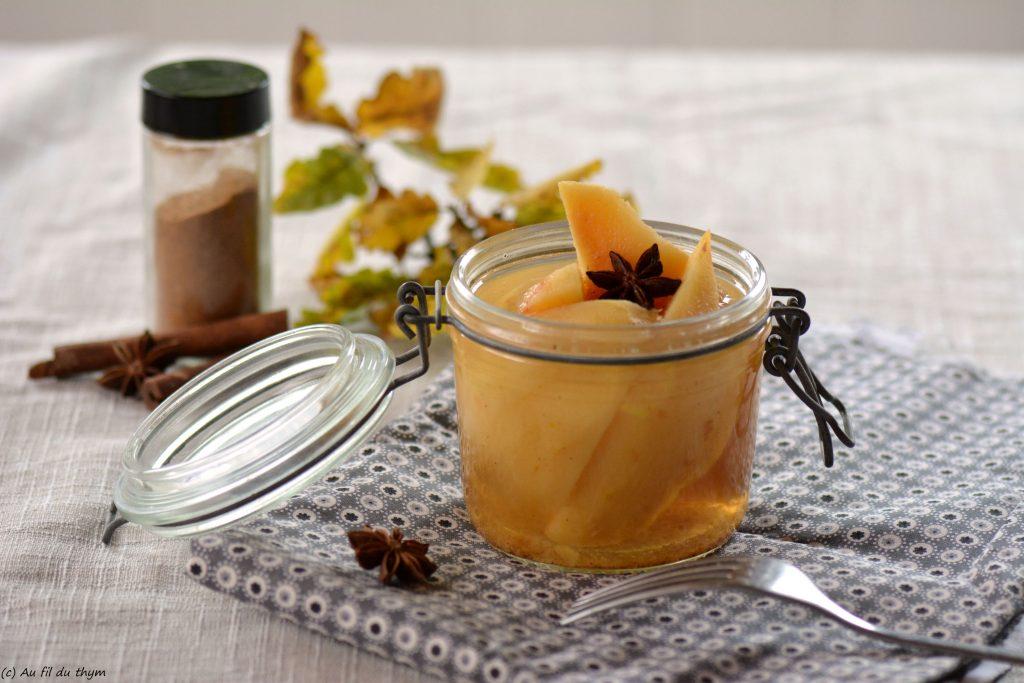 coings sirop de badiane et cannelle - idée dessert léger et gourmand