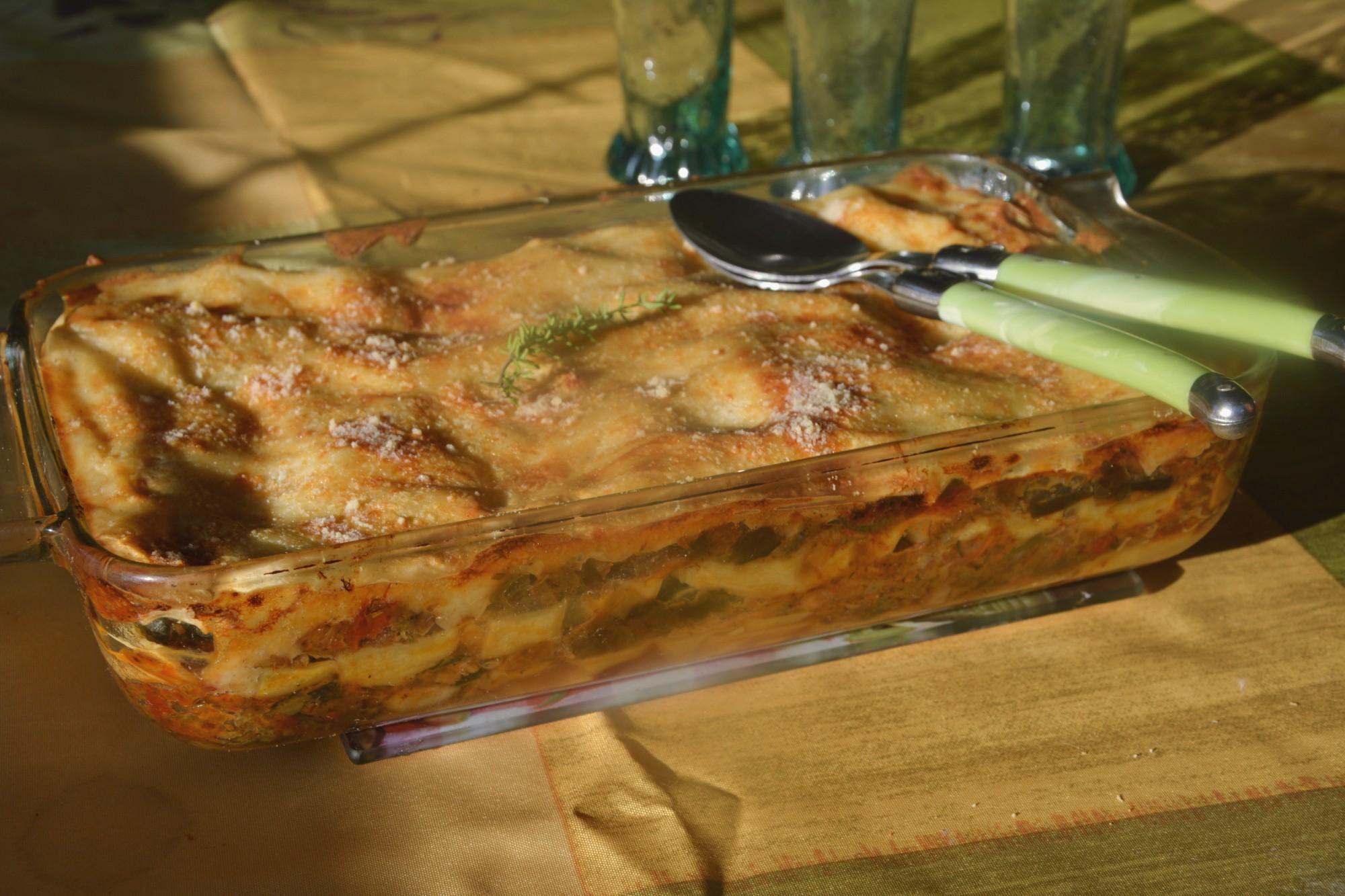 Lasagnes au cabillaud et aux légumes du soleil
