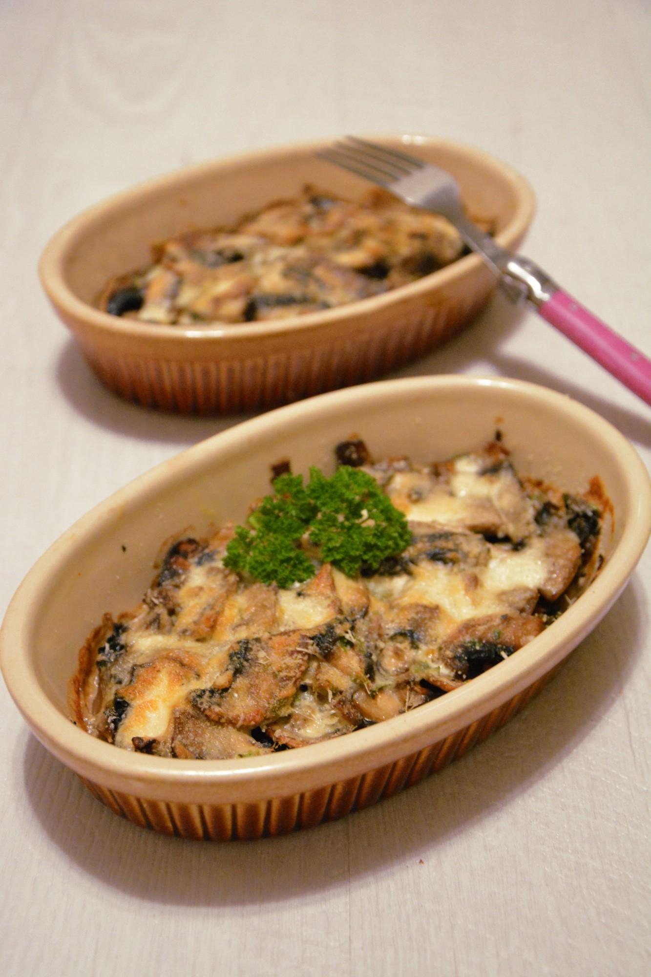 Petits gratins de champignons au parmesan