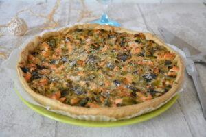 Tarte poireaux truite et fines herbes