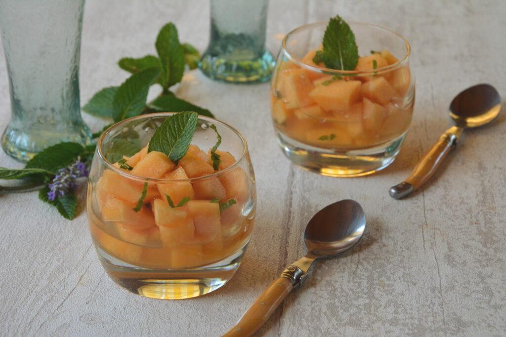 Salade melon sirop de menthe - Salade melon menthe - Au Fil du Thym