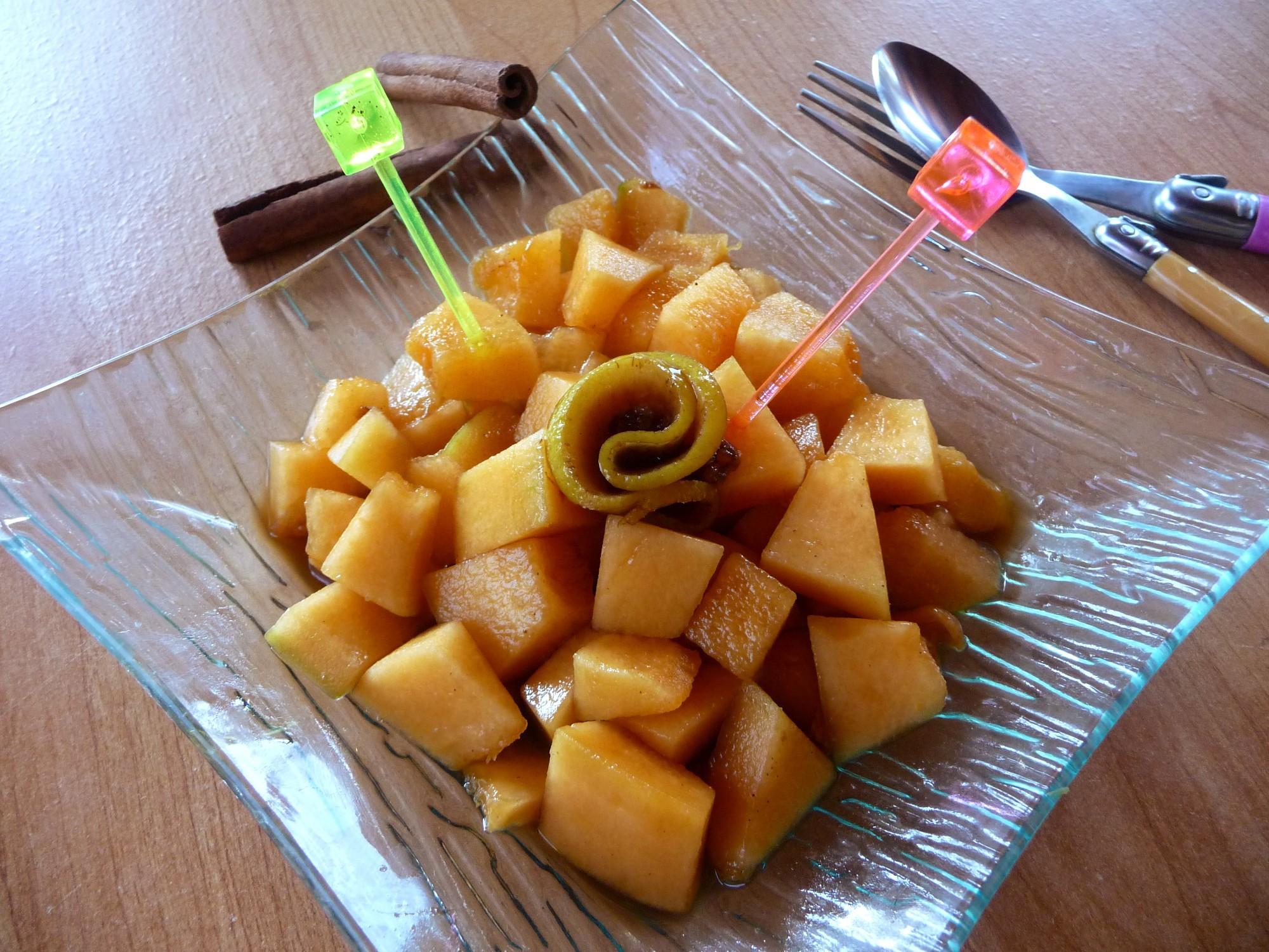 Melon mariné au vinaigre de xérès (Tapas de melon)