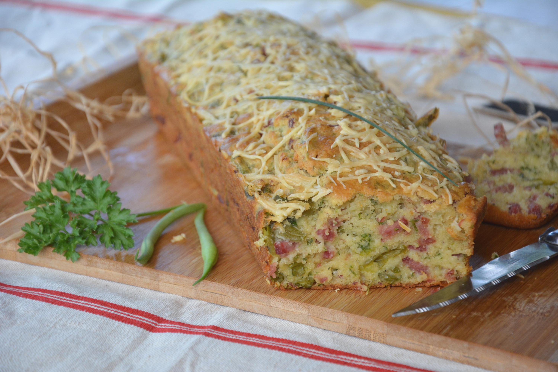 Cake au jambon, haricots verts et herbes du jardin {pour les apéros de l'automne}