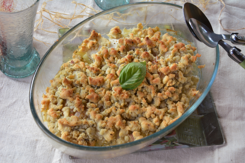 Filets de poisson en crumble de parmesan et basilic