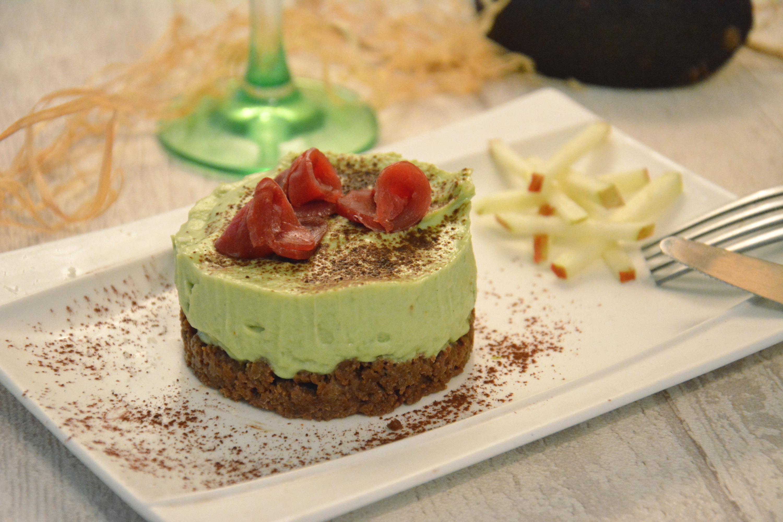 Cheesecake avocat, cacao et magret de canard séché