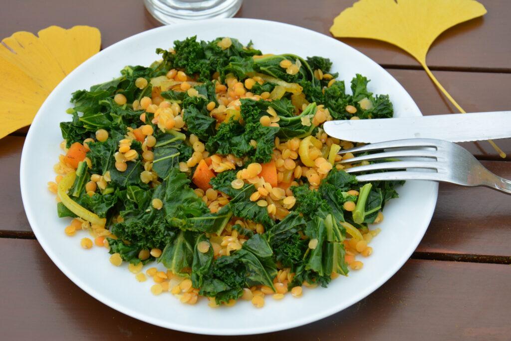 salade detox chou kale lentille