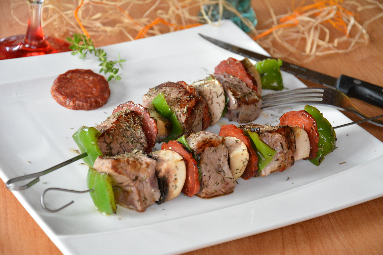 Brochettes de boeuf et chorizo