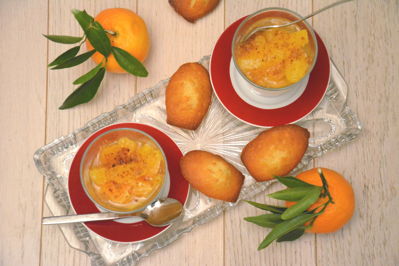 Salade d'agrumes au rhum et madeleines clémentines