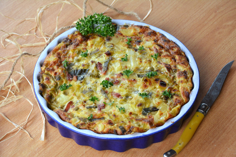 Clafoutis de poireaux, lardons et pommes de terre
