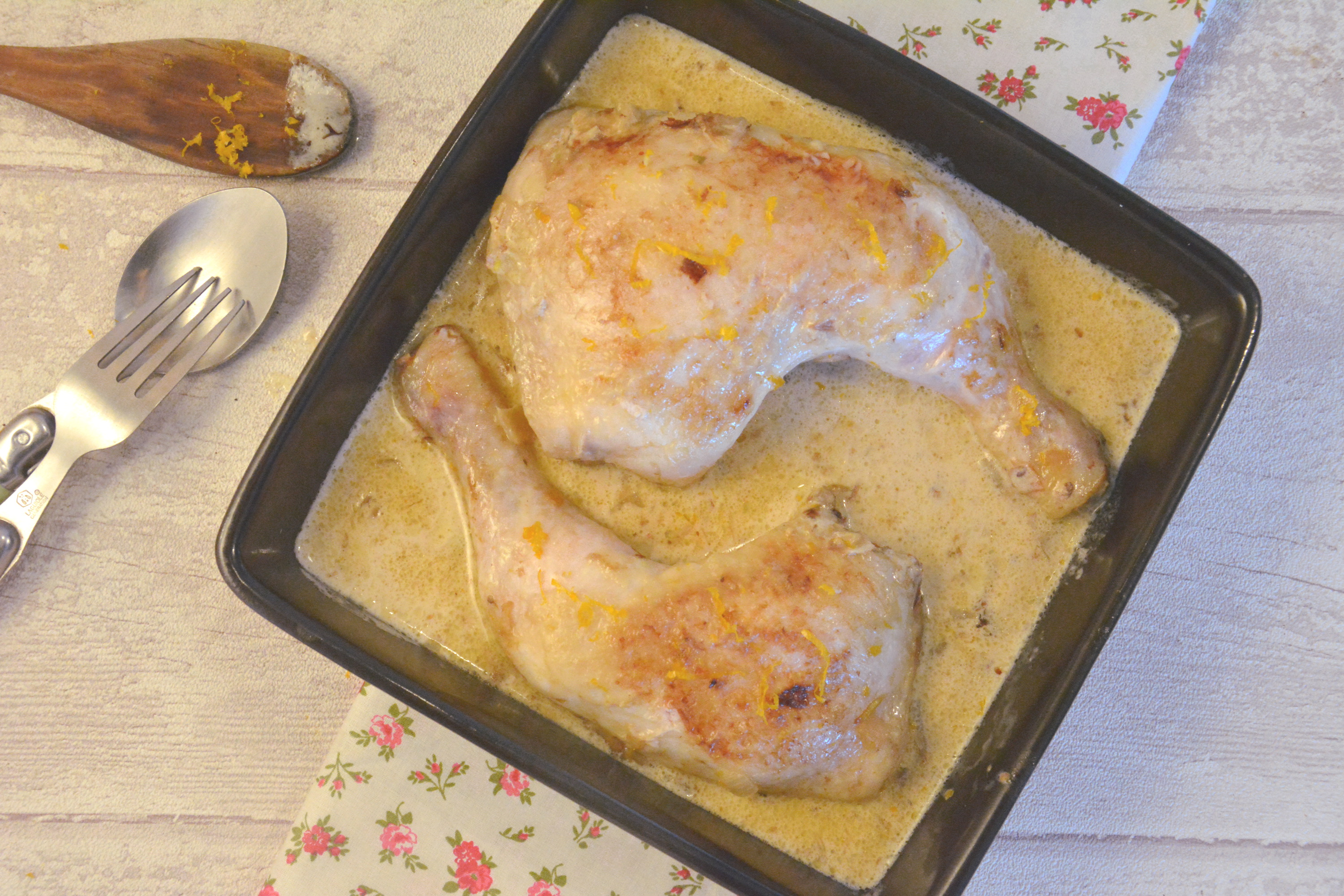 poulet cocotte, sauce créme whisky orange