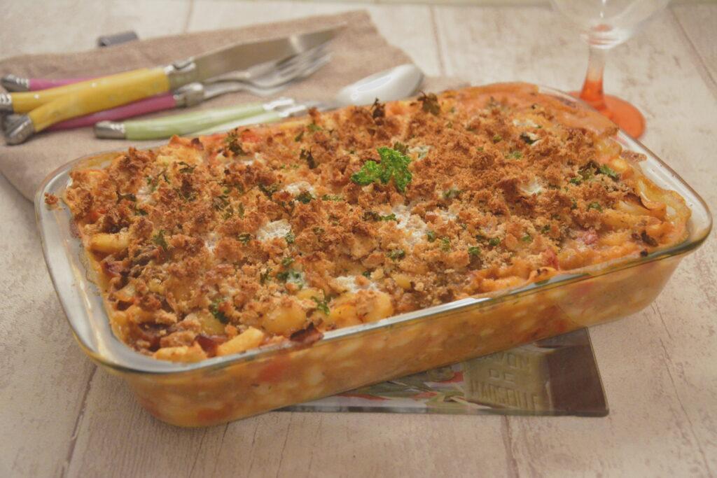 gratin haricots blancs (ou haricots lingots, ou mogette) au chorizo - Recette familliale et facile