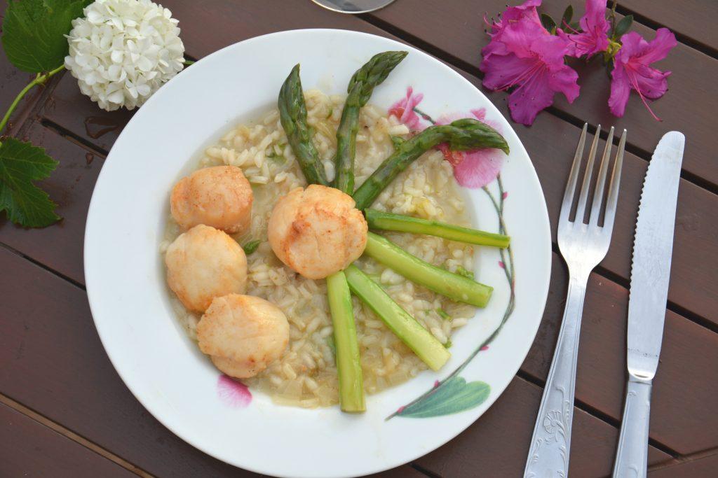risotto asperges noix de saint jacques - recette facile