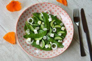 salade pois gourmands feta - salade de printemps croquante et fraîche