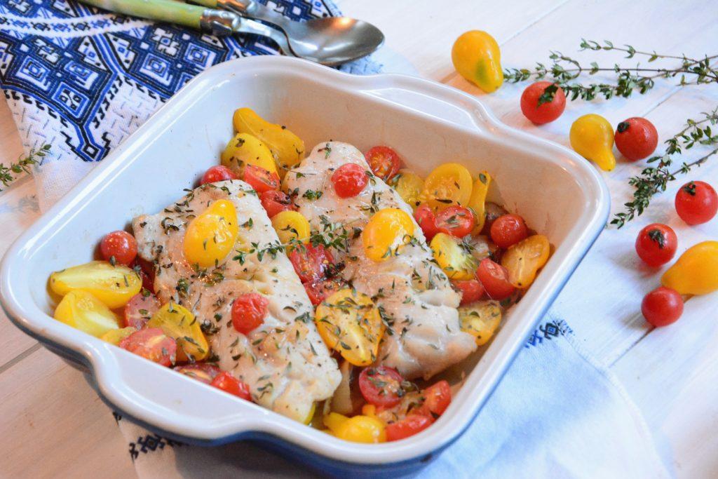 Lieu tomates au four - lieu rôti au four - Idée de plat rapide et de saison