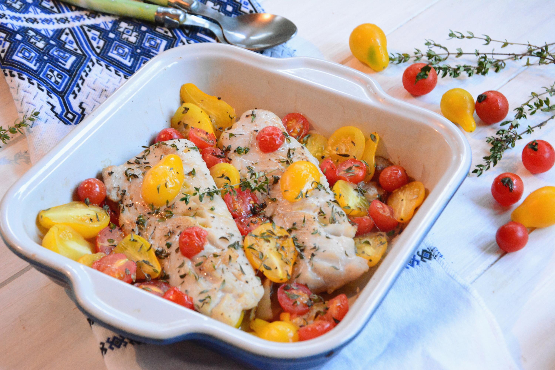 Lieu et tomates cerises rôties au four - Idée de plat rapide et de saison