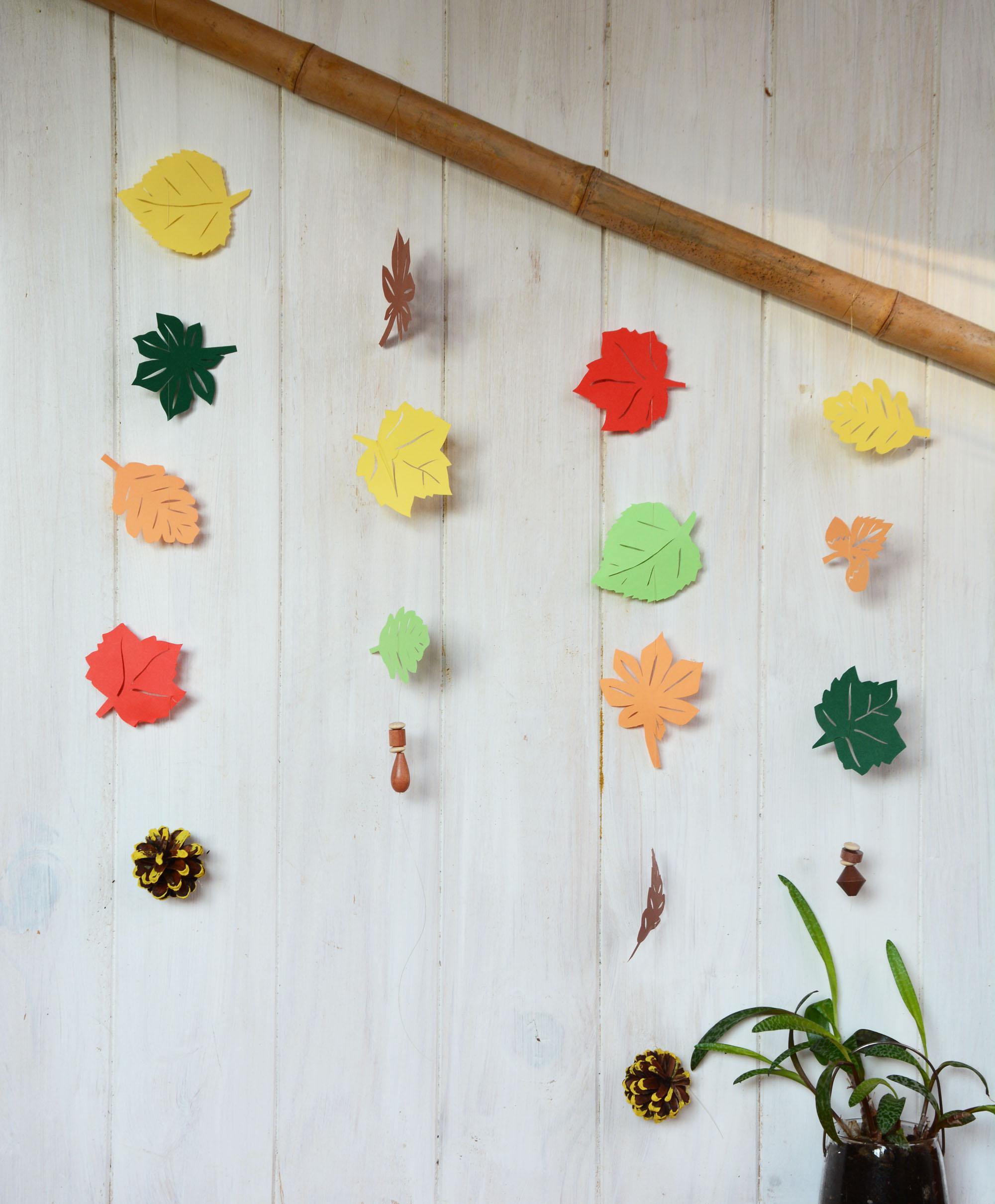 Diy d coration feuille d automne en papier au fil du thym - Petit arbre d interieur ...