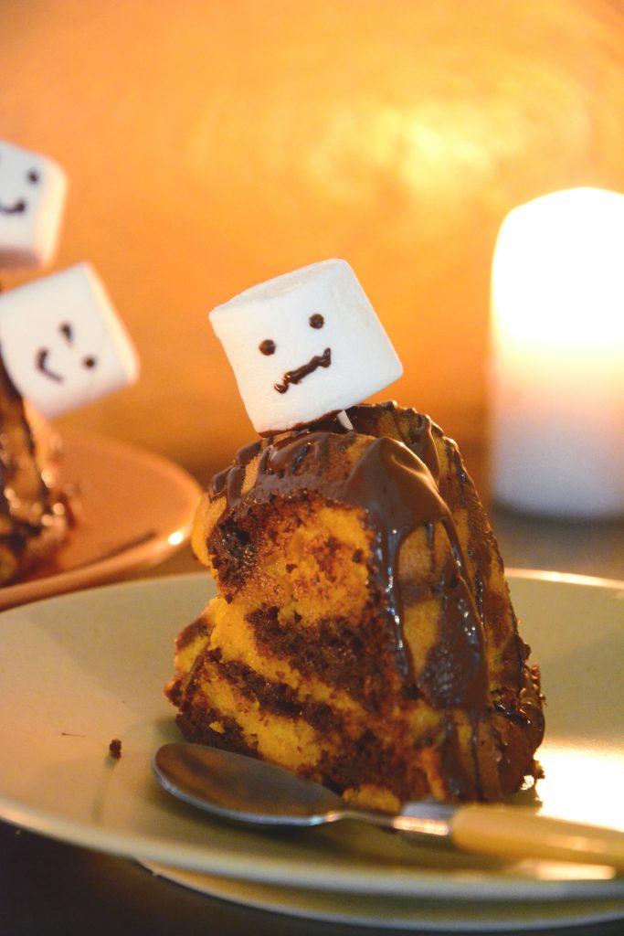 Gâteau Halloween facile - Gâteau potiron chocolat - zoom