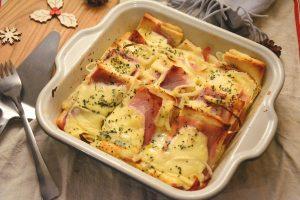 Pain perdu salé jambon fromage ( jambon cru raclette)