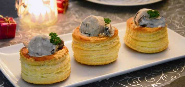 bouchées boudin blanc champignon noël
