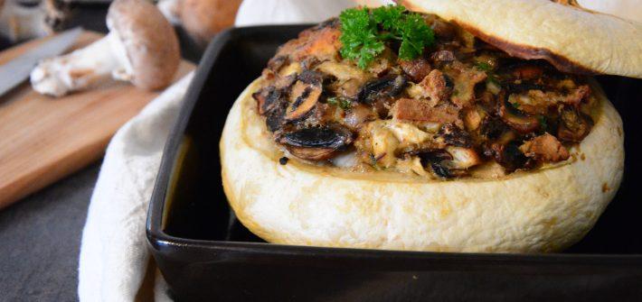 pâtisson farci champignons et bleu - idée végétarienne ppur un repas de fête ou gourmand