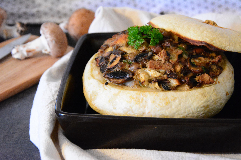 Pâtisson farci aux champignons et au bleu  (végétarien)