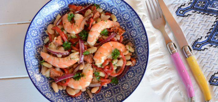 "Salade haricots blancs crevette chorizo ""espagnole"" - idée salade complète facile"