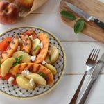 Salade melon grille pêche, tomate, chèvre frais. idéee très fraîche