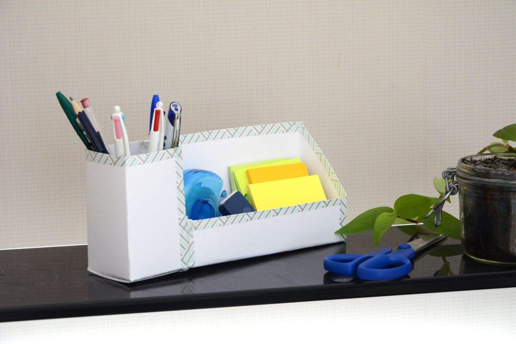 Tuto/DIY pour un organiseur bureau carton facile - décoré masking tape - Au Fil du Thym