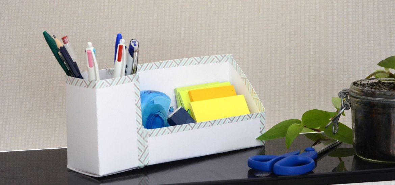 diy rentr e un organiseur de bureau en carton d cor facile au fil du thym. Black Bedroom Furniture Sets. Home Design Ideas