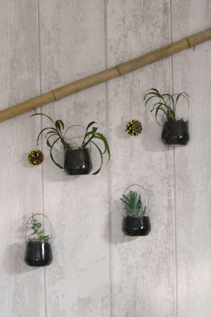 suspension naturelle à mini plantes / suspension récup