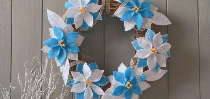 DIY Noel Couronne fleurs neige feutrine (1)
