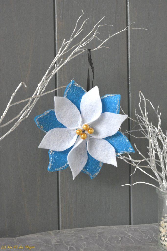 fleur neige feutrine - décoration noel