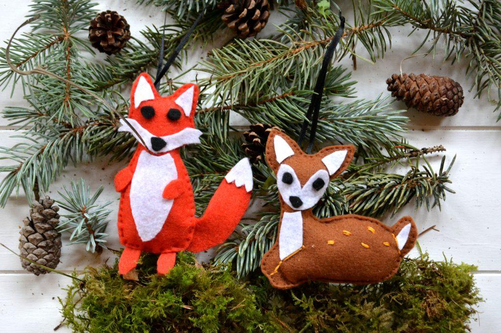 DIY faon feutrine et ecureuil feutrine, à suspendre au sapin de Noël ou à une guirlande
