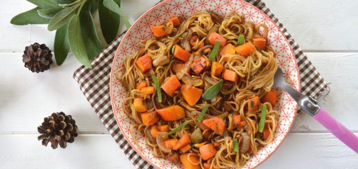 nouilles sautéesau potimarron et à la sauge - cuisine facile et rapide