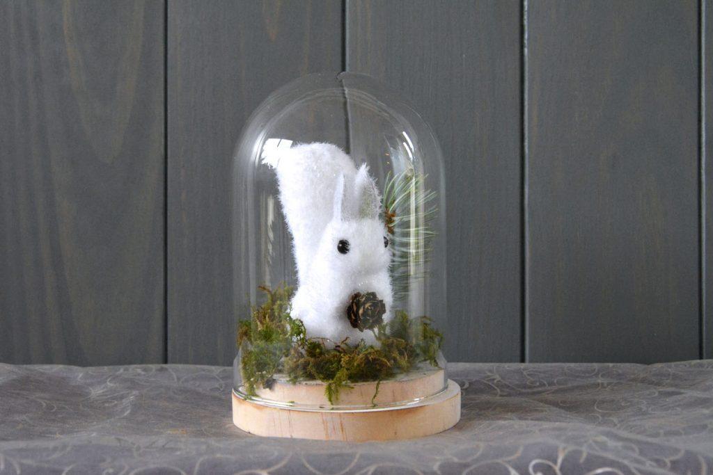 DIY déco table Noël - écureuil sous cloche DIY