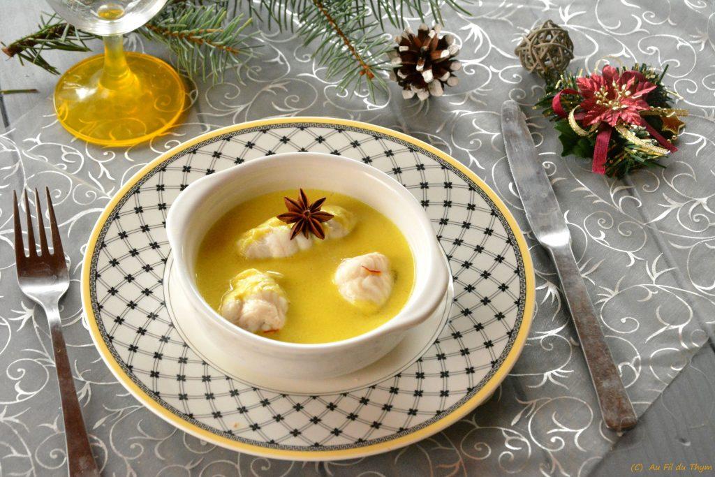 Roulés de sole épices noël - une délicieuse recette de roulés de sole, avec une sauce au safran et curcuma- recette de fête - Au Fil du Thym
