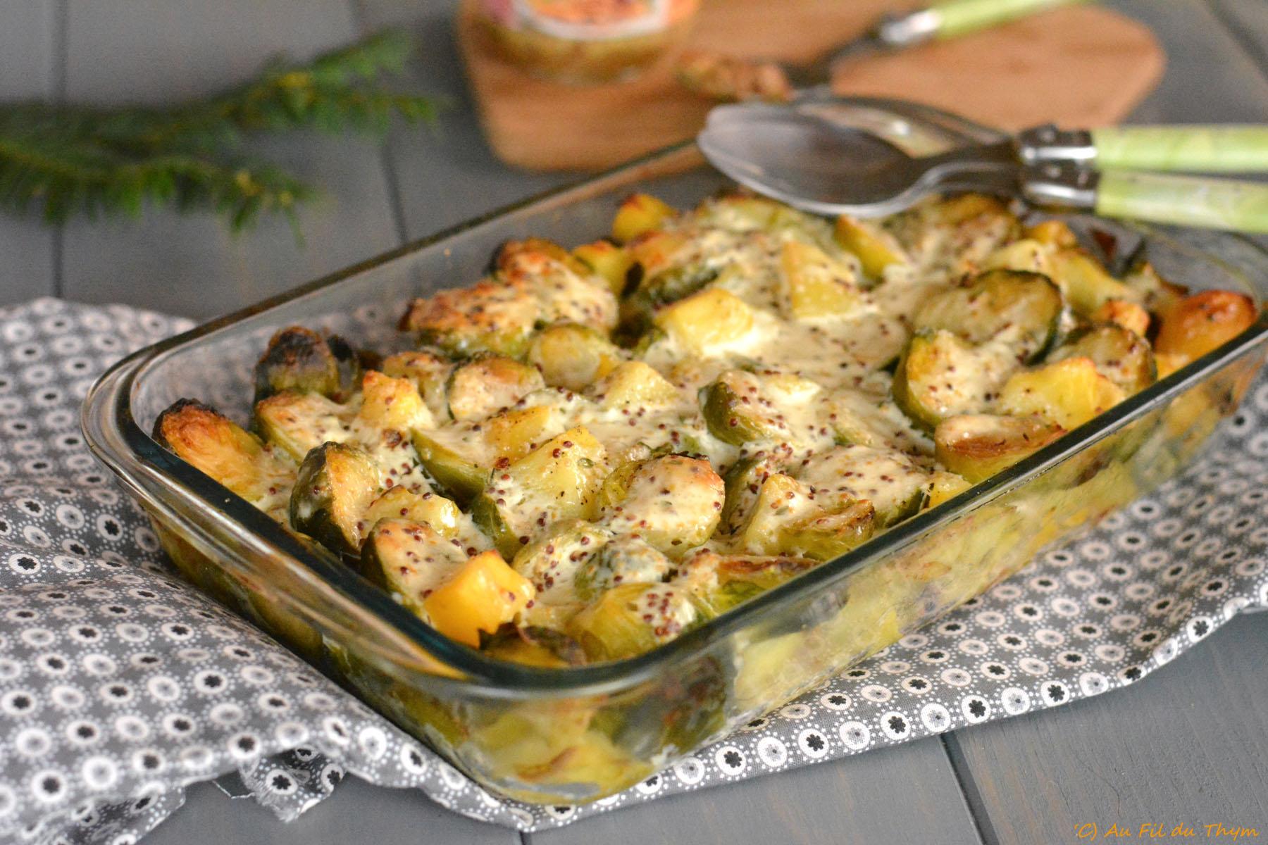 Gratin de choux de Bruxelles & pommes de terre à la moutarde