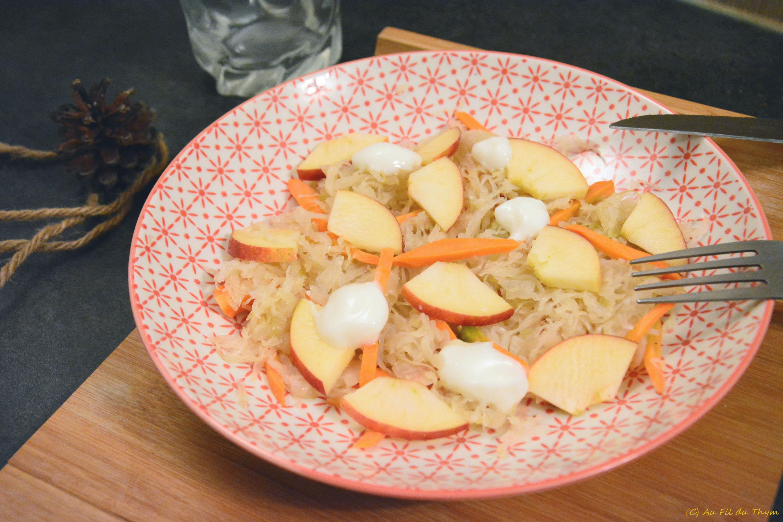 Salade de choucroute et pomme (un zeste sucrée-salée)