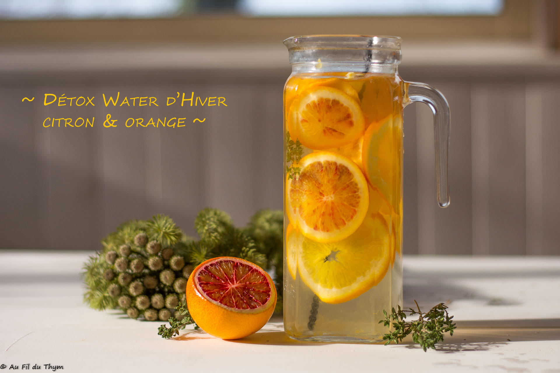 Détowx water d'hiver citron & orange - Une idée saine et facile pour s'hydrater en hiver - Au Fil du Thym
