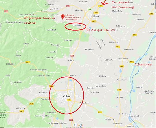 Carte Région château Haut Koenigsbourg