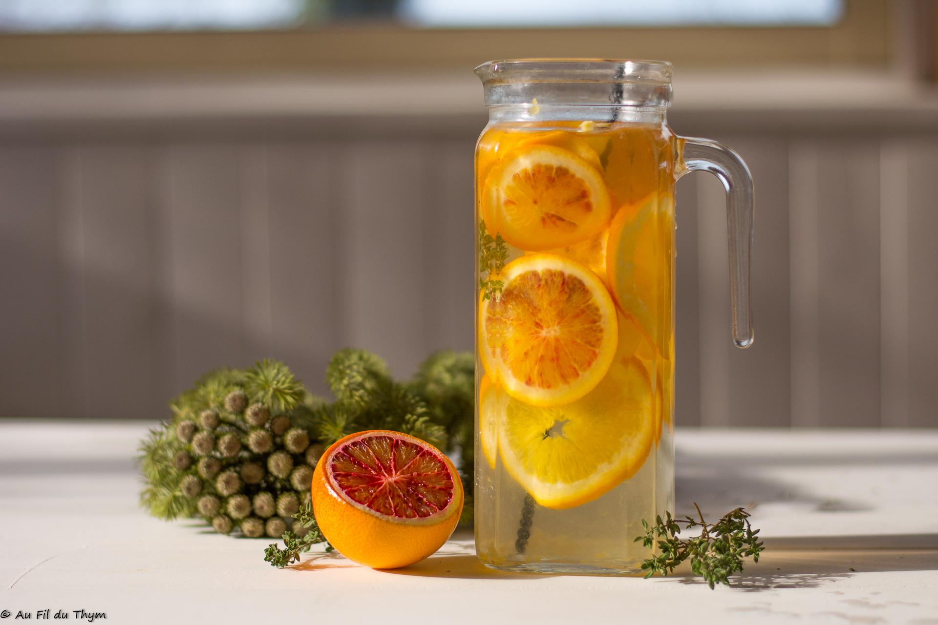 Détox water d'hiver, citron & orange