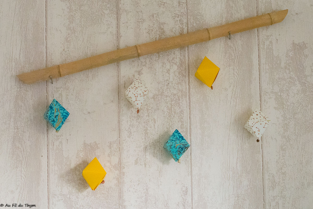 DIY geode papier suspension geometrique - au fil du thym
