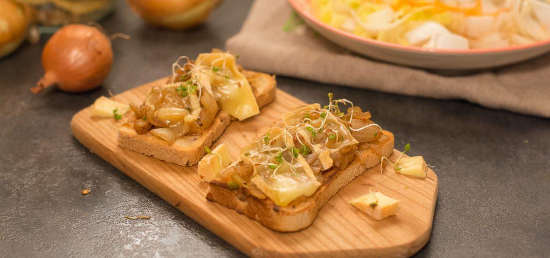 tartine munster oignon - idée repas facile ou apéro dinatoire