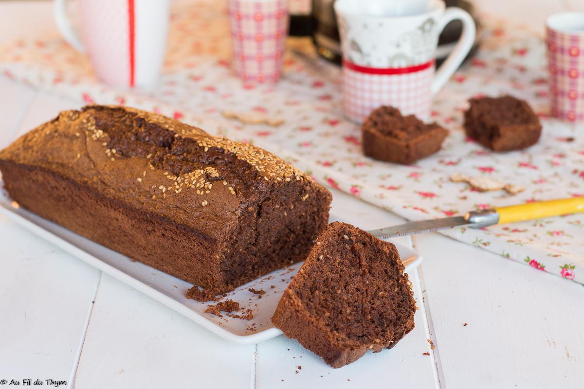 Cake léger chocolat noir & sésame  {cake du matin.. et aussi cake du soir !}
